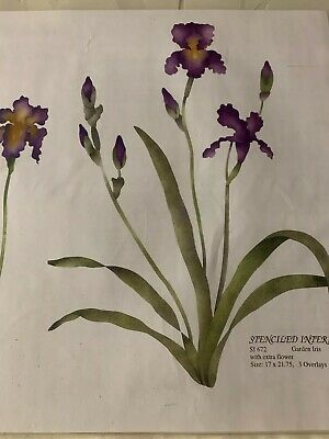 NEW IRIS STENCIL -Stenciled Interiors #672 17 X 21 single flower wall decor