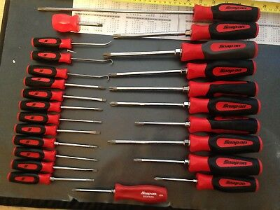 snap on screwdrivers red 24pc