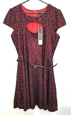 LOVEDROBE Embroidered Swing dress blk//gold uk size 30 ref box 112 RRP £75