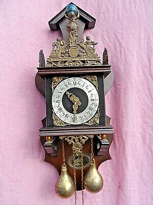 Vintage German Made Atlas Bell Strike Weight Driven Mahogany Wall Clock Vgc Gwo