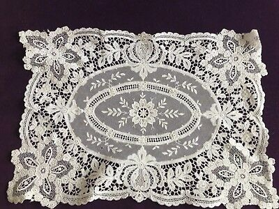 Antique Rectangular Brussels Lace French Netting Floral Needlework Cream Ornate