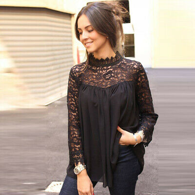 Fashion Women Ladies Crew Neck Lace Long Sleeve Casual Loose Blouse Tops LH