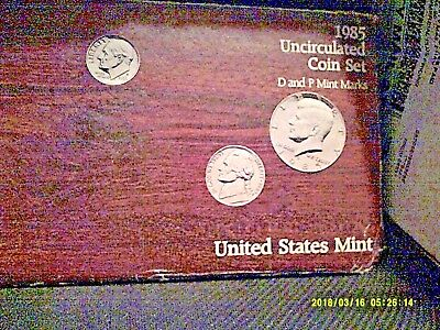 1985 Mint Set Original Envelope 10 US Coins Kennedy Half Dollar