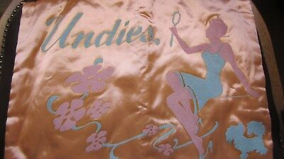 1950,s original fab pink/blue satin nightdr. case with gorgeous graphics.As new