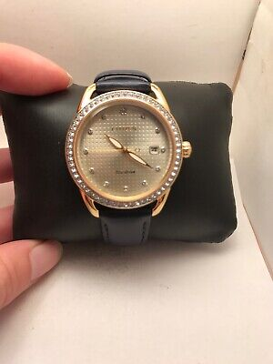 Citizen Eco-Drive Ladies Crystal DRIVE LTR Champagne Dial Watch FE6112-09P-H46