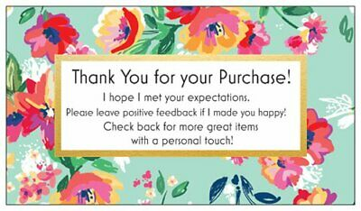 100 Professional Thank You Cards Ebay Poshmark Etsy Seller Feedback Green Floral