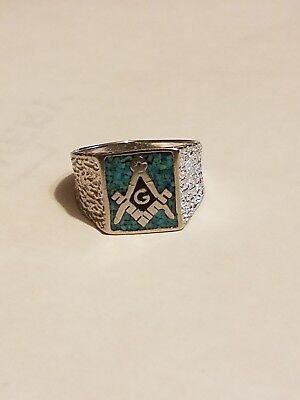 d0f23113828f1 BEAUTIFUL VINTAGE SILVER Masonic Ring with turquoise size 9