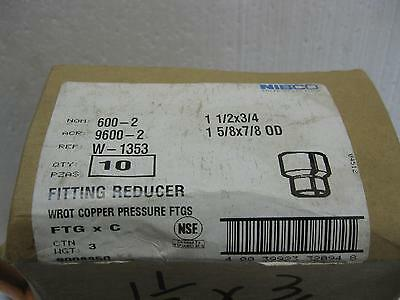 "NIBCO Copper Sweat Reducing FEMALE coupling 1 -1/2"" X 3/4"" FTGxC"
