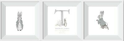Personalised Peter Rabbit baby grey child print pictures nursery gift wallart