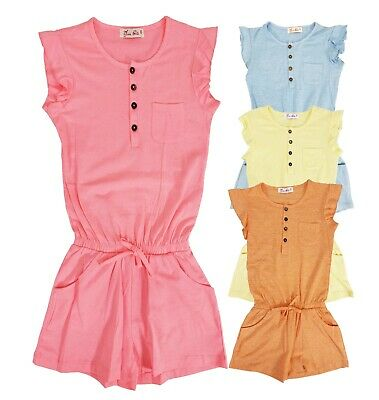 Kids Girls Mini Plain Colour Playsuits Jumpsuits Romper Shorts Summer Age 2-12Yr