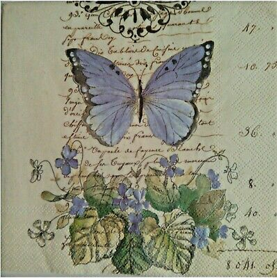 4 x paper napkins for decoupage, with butterfly.Servilletas mariposa,escritura.