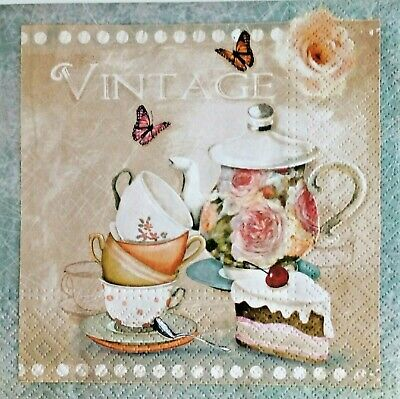4x decoupage paper napkins,romantic tea. Servilletas decoradas,decoupage,vintage