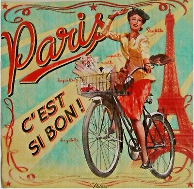 4 x Decoupage paper napkins, woman retro, Paris ,Bicycle. Servilletas decoupage
