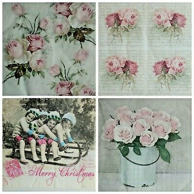 4x Single Paper Napkins for decoupage Vintag.Servilletas de papel vintage Sagen