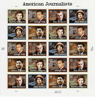 American Journalists Stamp Sheet -- Usa #4248-#4252 42 Cent 2008