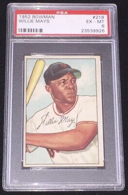 1952 Bowman Willie Mays New York Giants 218 Baseball Card Psa 6