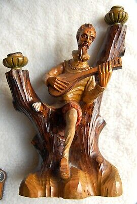 Vintage Carved Wood Guitar Man Playing Spanish Guitar Candlestick Eclectic Cool