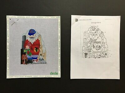 Dede's Needleworks Hand-painted Needlepoint Canvas Chicago Santa/Stitch Guide