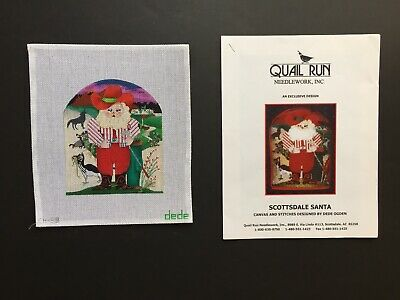 Dede for Quail Run Hand-painted Needlepoint Canvas Scottsdale Santa/Stitch Guide