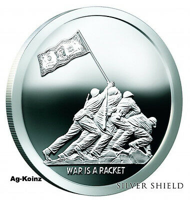 Monumental Truth Series #1- 1 oz 2017 War Is A Racket Proof Silver Shield 999 AG
