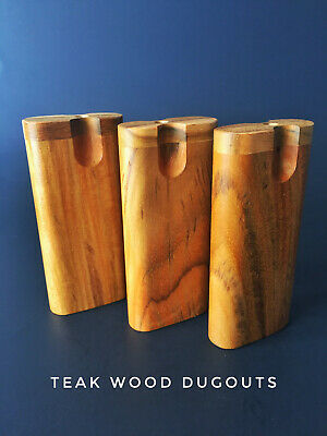 """4"""" Teak Wood Swivel Lid Dugout with 3"""" One Hitter Bat-Perfect Gift"""