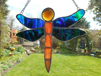 Stained Glass Dragonfly Suncatcher or Wall Mount