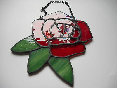 Stained Glass Rose Flower Suncatcher or Wall Mount.