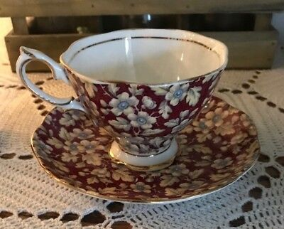 Royal Albert Crown China Burgundy Chintz Teacup Cup & Saucer Maroon Floral