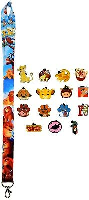 Lion King Themed Starter Lanyard Set w/ 5 Disney Park Trading Pins - Brand NEW
