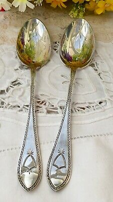 WALKER & HALL 2x LARGE TABLE SPOONS EPNS SILVER PLATE ANTIQUE CUTLERY PATTERNED