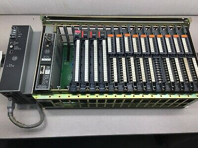 Used Allen Bradley Rack, Cpu, Power Supply, And Various I/O Cards 1785-Lt
