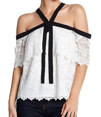 f4697b254219e Lucy Paris S Small Blouse NWT Womens White Black Lace Beatrice Cold Shoulder  Top