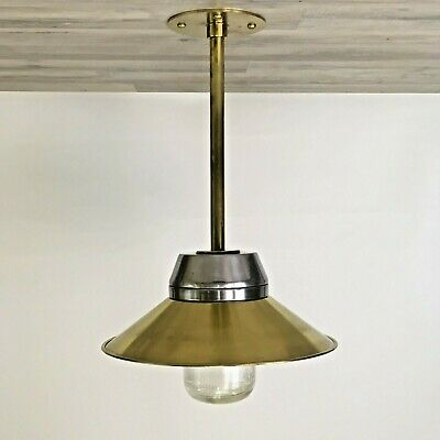 Polished Aluminum Pendant Ceiling Light With Brass Shade