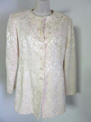Marie St. Claire Vintage Ivory Embroidered Jacket Evening Elegant Women's Size 6