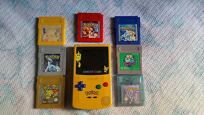 Gameboy Pikachu Editition + All Gameboy Pokemon Games with NEW BATTERIES !