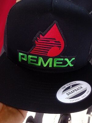 39e656451d8 Pemex Mexico Hat Mesh Trucker Color Black Snap Back Flat Build Adjustable