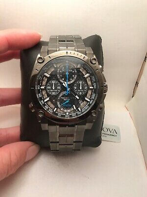 Bulova Precisionist Chronograph Gun Metal Grey Dial Mens Watch 98B229-H47