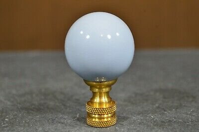 """Blue Ceramic Finial Round With Brass 2"""" Tall Ball Style For Lamp / Light"""