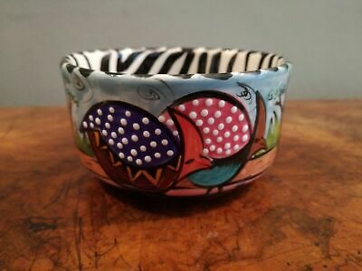 Penzo Blue Mini Bowl with Guinea Fowl Zimbabwe Pottery Ceramic Hand Painted