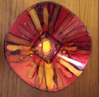 Mid Century Enamel Over Copper Bowl Red Abstract Design