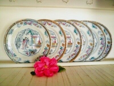 Antique Entree Plates X6 Gildea & Walker C1881-85 Chinoiserie Chinese Pagoda