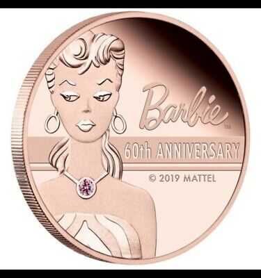 RARE LIMITED MINTAGE 2019  BARBIE 60th ANNIVERSARY 2oz/22ct PURE ROSE GOLD  COIN