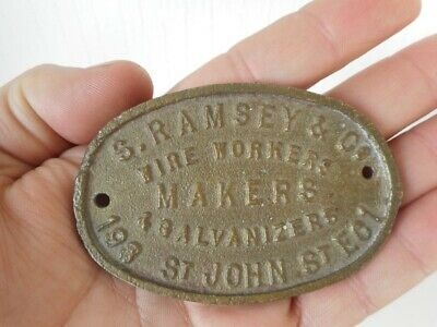Vintage S RAMSEY & Co Wire Workers Makers & Galvanizers Brass Plaque