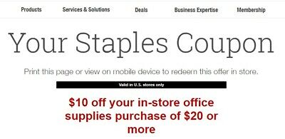 STAPLES $10 OFF $20 in store office supplies EXP:3/16/19 super fast delivery