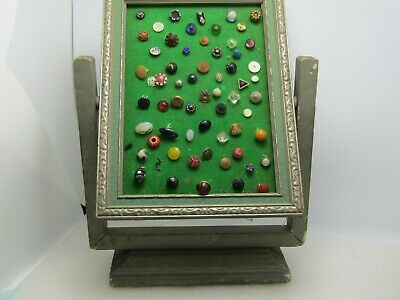 Vintage Victorian To 1940's Button Lot, 55+, in Early 1900's Wooden Gray Frame