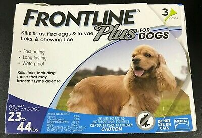 Frontline Plus 3 Dose  Flea and Tick Control for 23 to 44lbs Dogs #7100