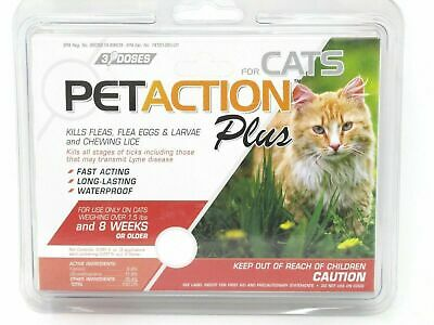 PetAction Plus Flea & Tick Treatment for Cats 1.5 lbs or More 1 Count 3 Doses