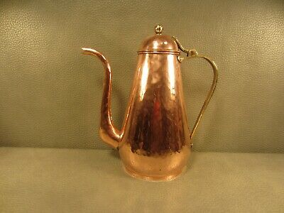 Early American Colonial Period Hand Peened Copper Dove Tailed Tea Pot