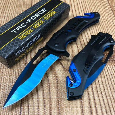 Blue Police Two Tone Blade Spring Assisted Survival Camping Rescue Pocket Knife