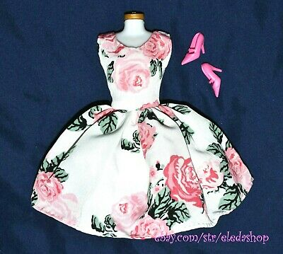 Classic Floral Dress & Shoes Set LOT for Barbie Doll Vintage Style 1960's Style